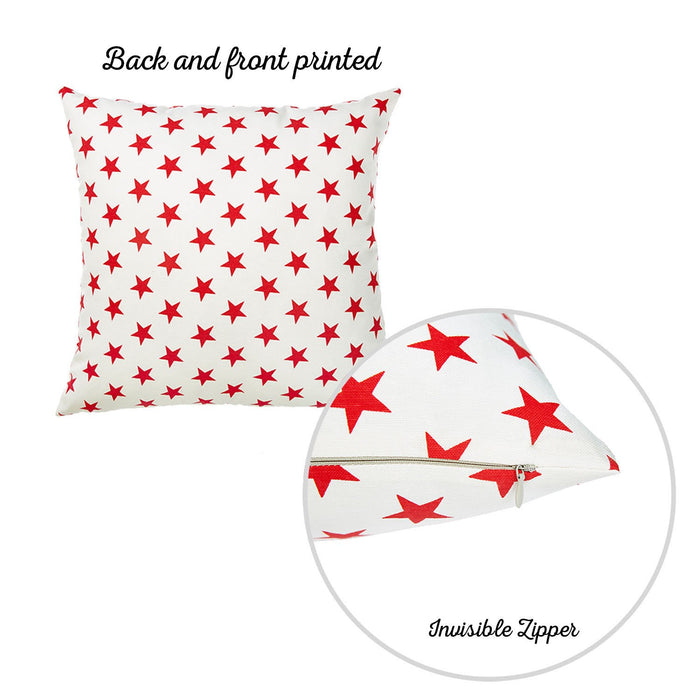 "Easy Care White Red  Stars Decorative Throw Pillow Cover Home Decor 20""x20"""