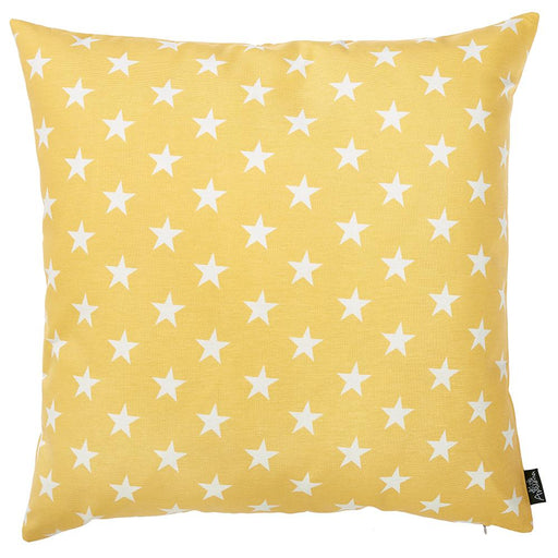"Easy Care Blue Yellow White Stars Decorative Throw Pillow Cover Home Decor 20""x20"""
