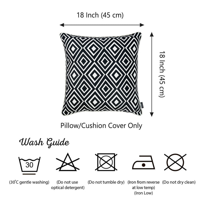 Tropical Bw Diamonds Squares Printed Decorative Throw Pillow Cover Home Decor Pillowcase 18''x 18''