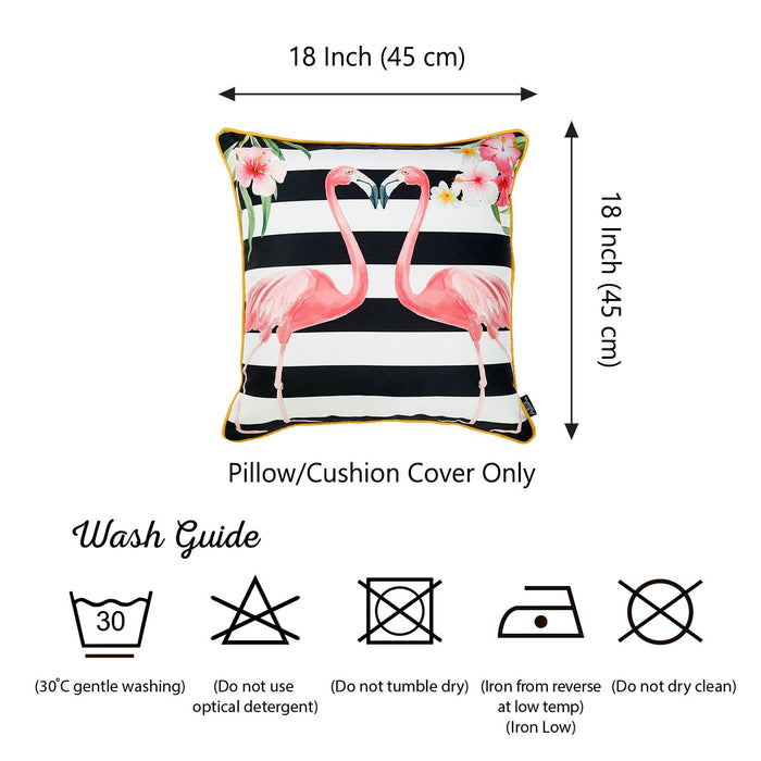 Tropical  Flamingo Love Squares Printed Decorative Throw Pillow Cover Home Decor Pillowcase 18''x 18''