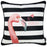 Tropical  Flamingo Stripe Squares Printed Decorative Throw Pillow Cover Home Decor 18''x 18''