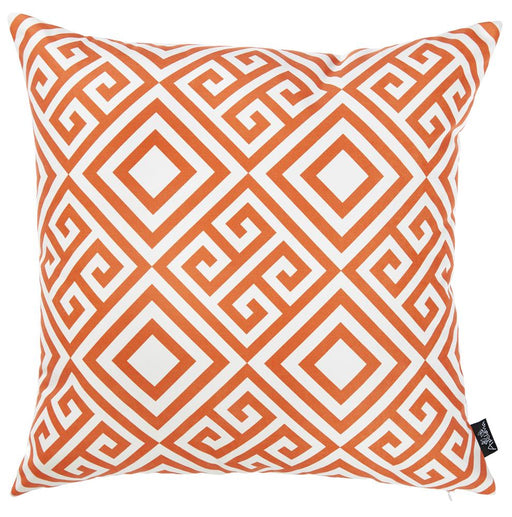 Tropical Orange Greek Printed Decorative Throw Pillow Cover Home Decor 18''x 18''