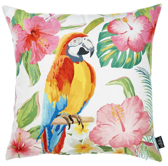 Tropical Parrot Forest Printed Decorative Throw Pillow Cover Home Decor Pillowcase 18''x 18''