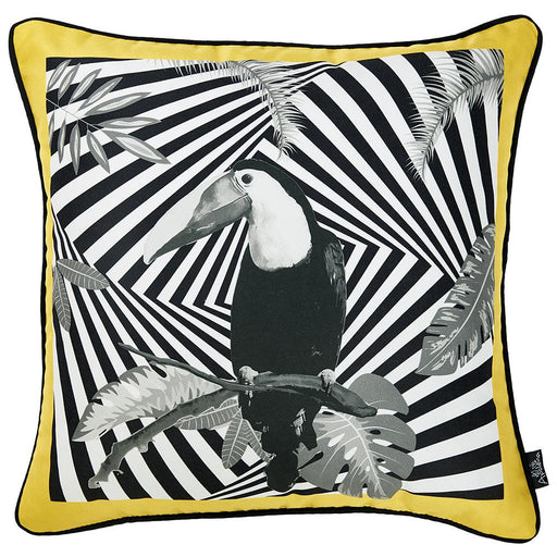 Tropical Parrot Illusion Squares Printed Decorative Throw Pillow Cover Home Decor Pillowcase 18''x 18''