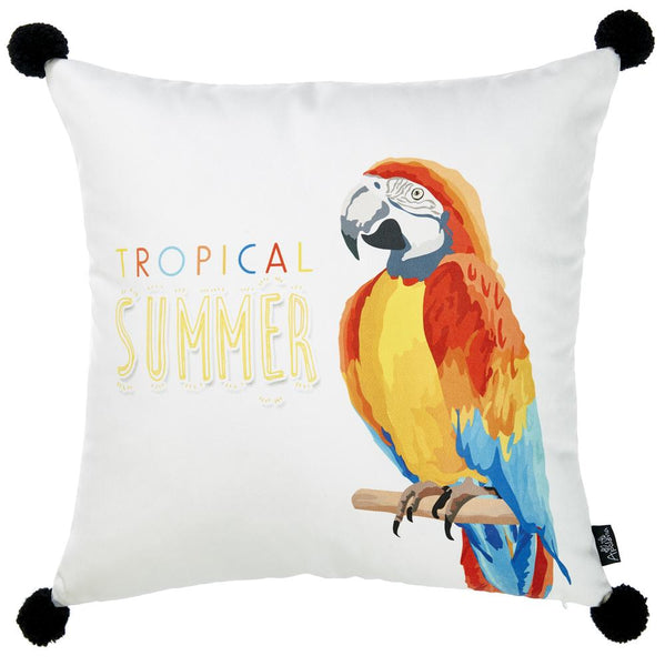 Tropical Parrot Island Printed Decorative Throw Pillow Cover Home Decor Pillowcase 18''x 18''