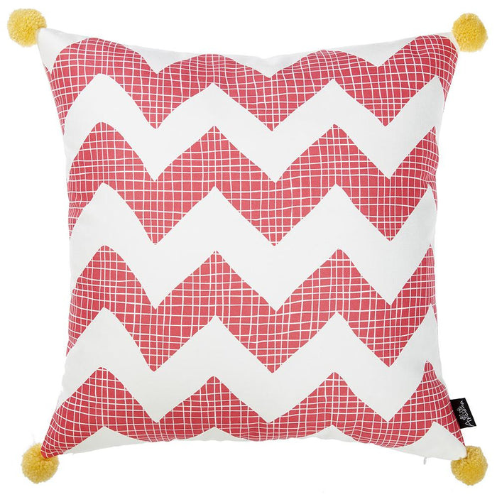 Tropical Pink Chevron Printed Decorative Throw Pillow Cover Home Decor 18''x 18''