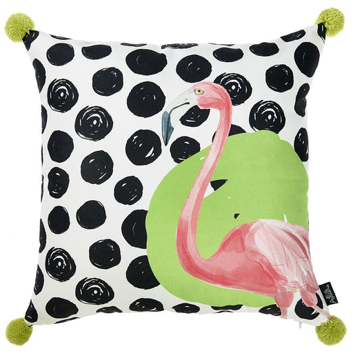 Tropical Pokedot Flamingo Squares Printed Decorative Throw Pillow Cover Home Decor Pillowcase 18''x 18''