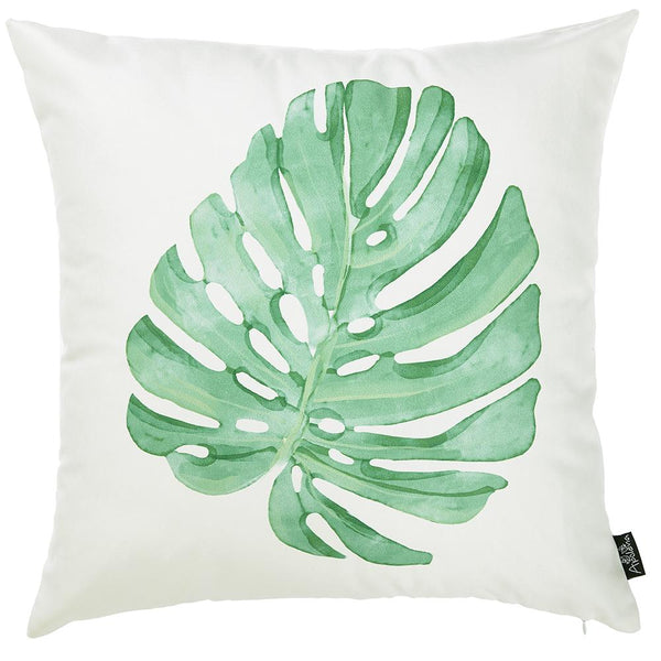 Tropical Single Monstera Printed Decorative Throw Pillow Cover Home Decor 18''x 18''