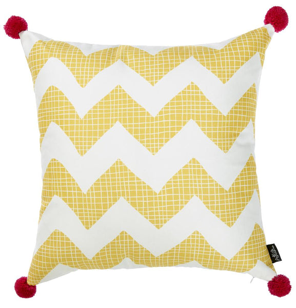 Tropical Yellow Chevron Printed Decorative Throw Pillow Cover Home Simple Tropical Throw Pillow Covers
