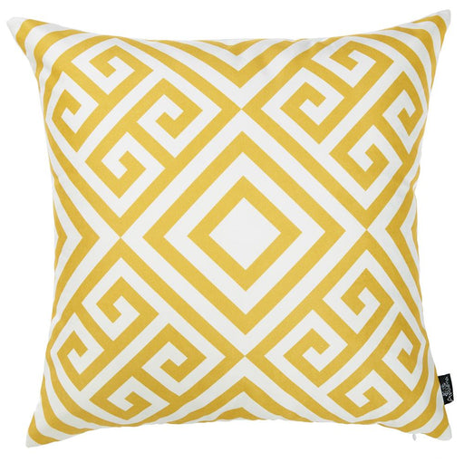 Tropical Yellow Greek Printed Decorative Throw Pillow Cover 18''x 18''
