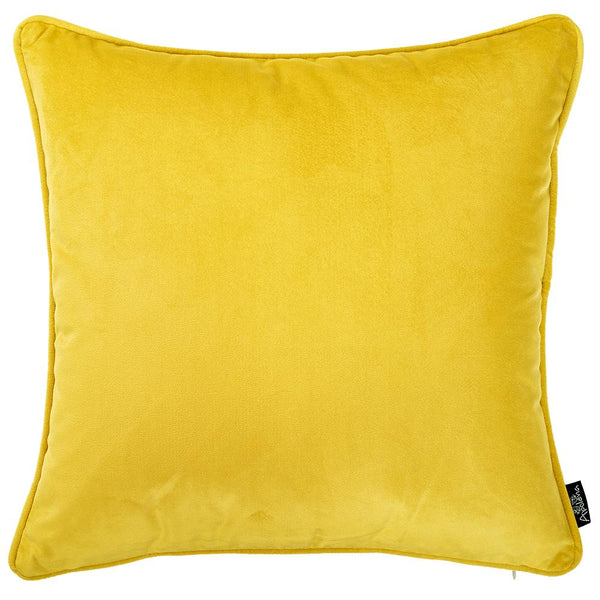 Velvet Yellow Decorative Throw Pillow Cover Home Decor 18''x 18''