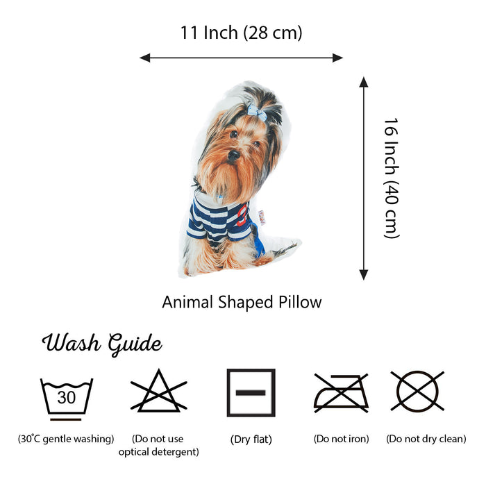 Animal Shaped Pillow, Filled Pillow with Yorkshire Terrier Dog Shape