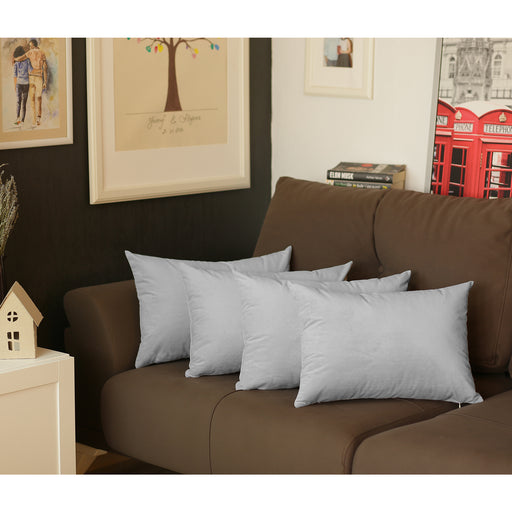 "Gray Velvet Decorative Lumbar Throw Pillow Cover 14""x20""(4 pcs in set)"