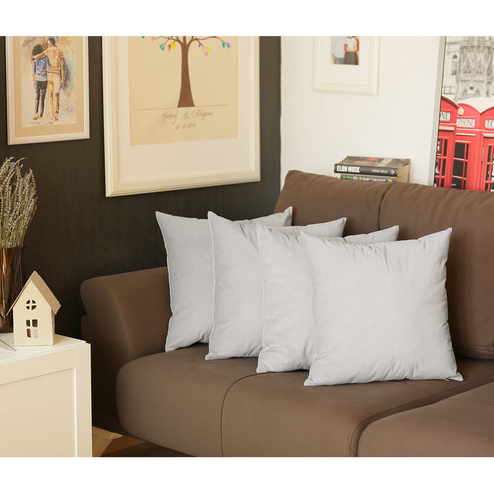 Velvet Light Gray Decorative Throw Pillow Cover Set (4 Pcs in set)