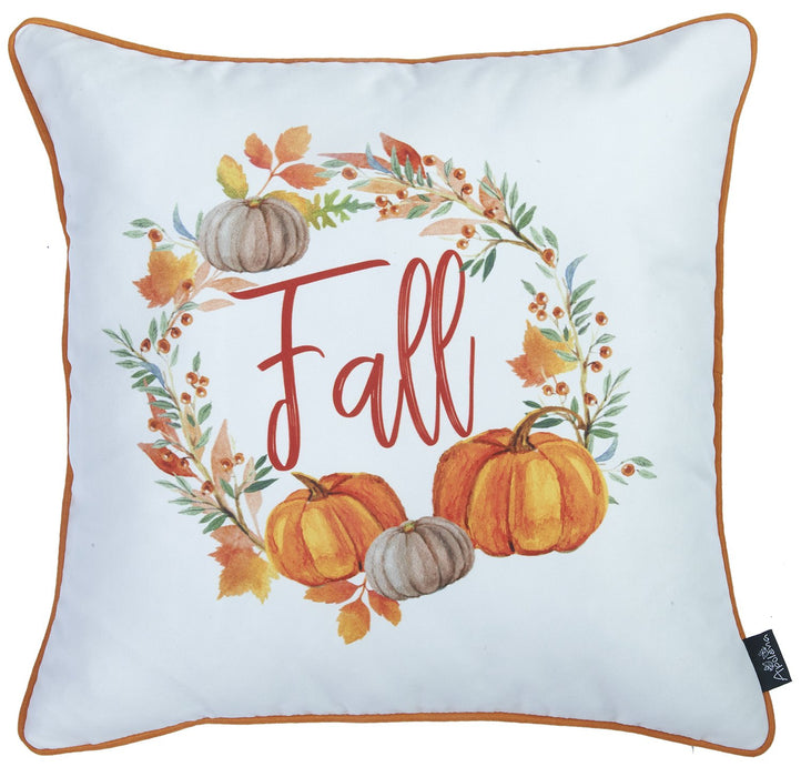 Fall Season Thanksgiving Word  Square Printed  Decorative Throw Pillow Cover 18''x 18''