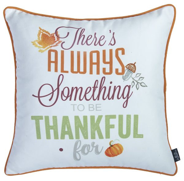 Fall Season Thanksgiving Thankful Square Printed Decorative Throw Pillow Cover 18''x 18''