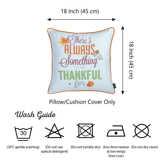 Fall Season Thanksgiving Thankful Square Printed Decorative Throw Pillow Cover
