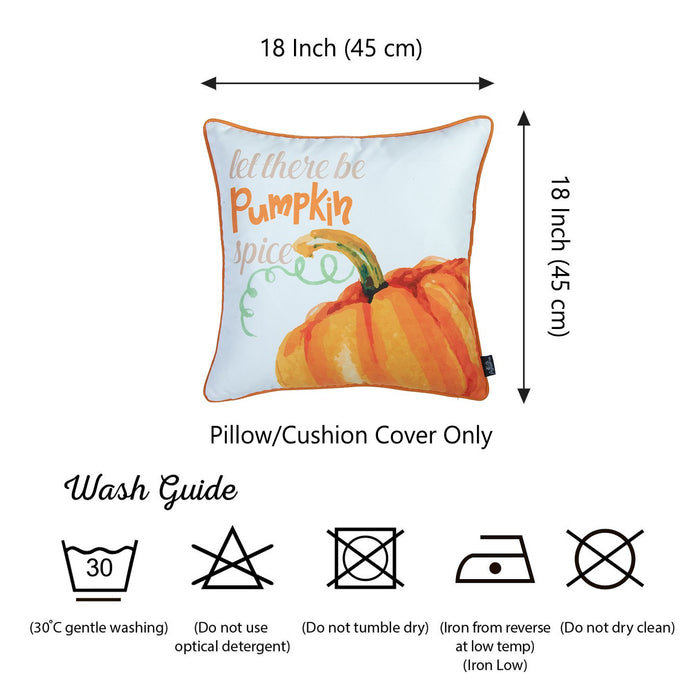 Fall Season Thanksgiving Thankful Pumpkin Love Square Printed Decorative Throw Pillow Cover