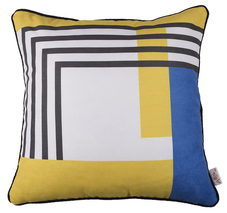 Scandi Geo Stripes Printed Decorative Throw Pillow Cover 18'' x 18''