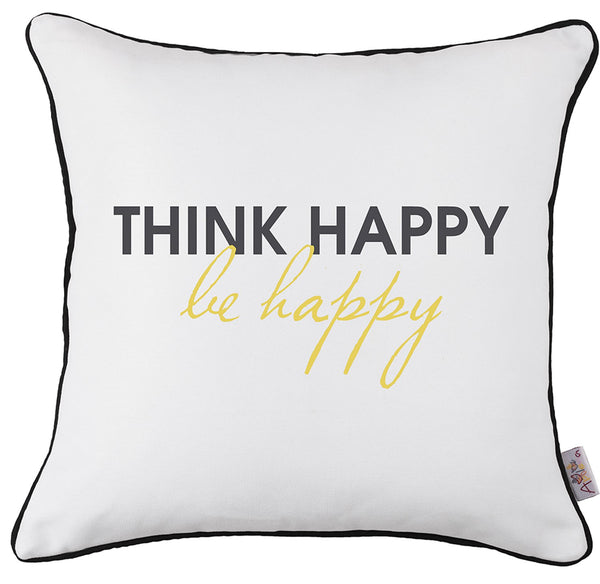 Scandi Square Think Happy Printed Decorative Throw Pillow Cover Home Decor Pillowcase 18''x18''
