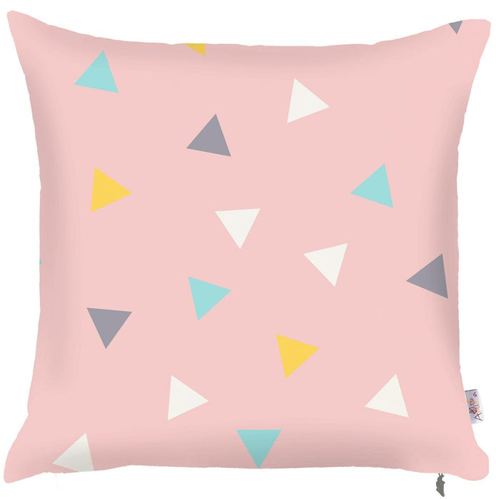 Scandi Square Triangles Printed Decorative Throw Pillow Cover Home Decor Pillowcase 18''x18''