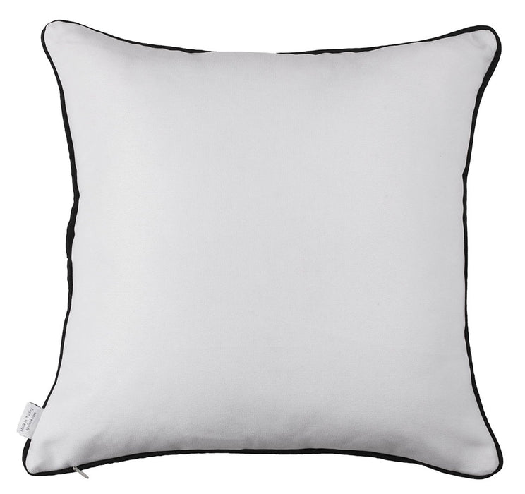 Scandi Square White and Black Printed Decorative Throw Pillow Cover Home Decor 18''x18''
