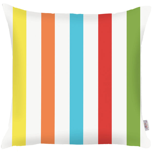 Tropical Square Colored Stripes Printed Decorative Throw Pillow Cover Home Decor 18''x 18''