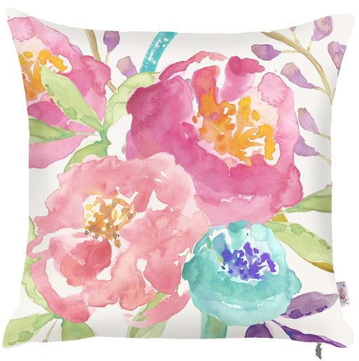 "Watercolor Mix Flowers Printed Decorative Throw Pillow Cover Home Décor Pillowcase 18""x 18"""