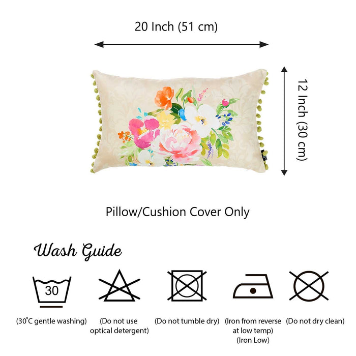 Watercolor Bouquet Lumbar Dream  Printed Decorative Throw Pillow Cover Home Decor 12''x 20""