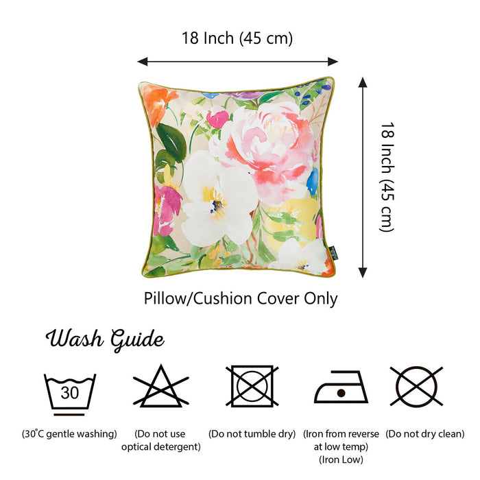 Watercolor Bouquet Printed Decorative Throw Pillow Cover Home Decor 18''x 18''