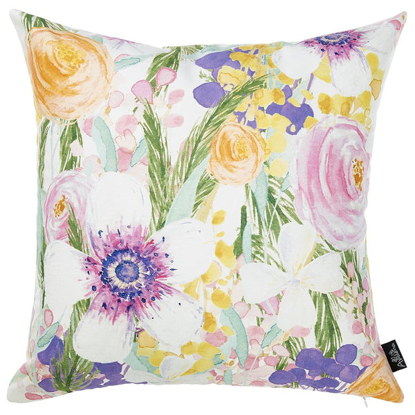 Watercolor Flower Garden Dream Square Printed Decorative Throw Pillow Cover Home Decor 18''x 18''