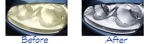 headlights before and after restoration