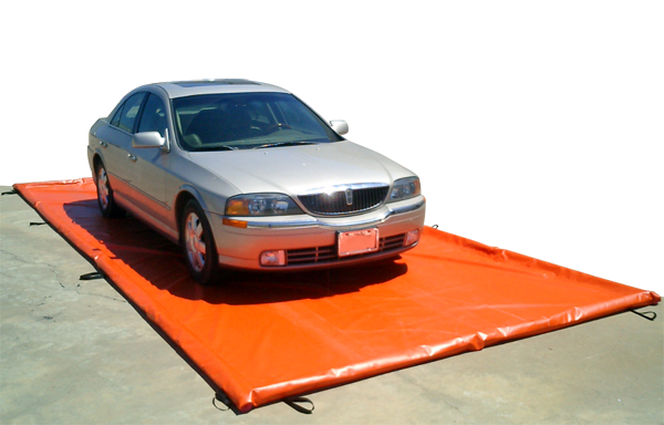 water containment mat under vehicle