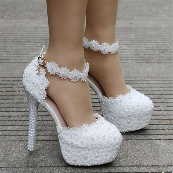 14cm white lace wedding shoes, Women's round head platform high heels