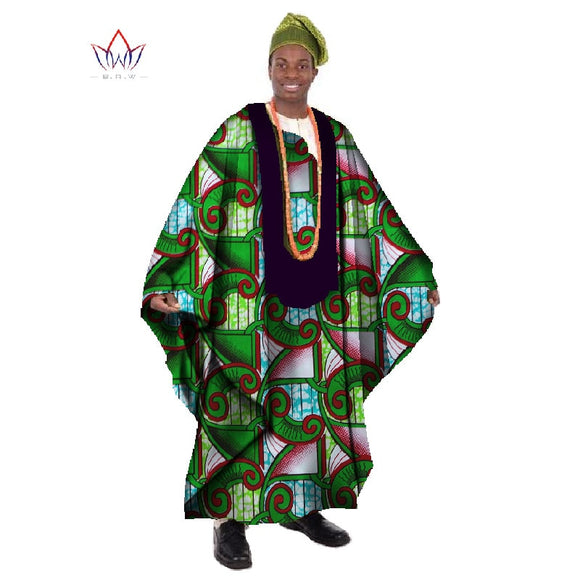 African Print Wax Tailored Long Men's Loose Robe Dashiki Clothing, Traditional African Men's O-neck Clothing 1