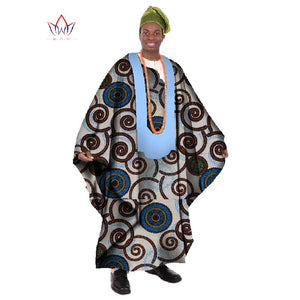 African Print Wax Tailored Long Men's Loose Robe Dashiki Clothing, Traditional African Men's O-neck Clothing