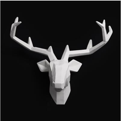Wooden Resin Animal Head Hanging Pendant Bar Mural Deer for Living Room Wall