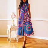 Women's Bow design Party Elegant Dress Color Printing Sleeveless High Waist A-line Simple Casual Dress