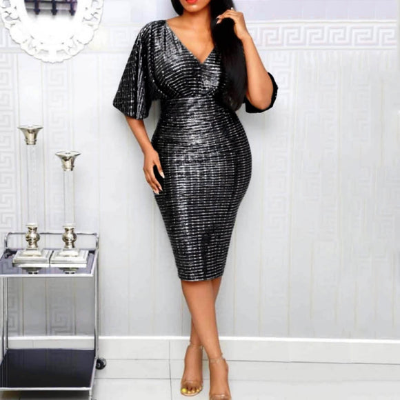 Night Club Party Sequins Bodycon Dress Women V Neck Sexy Clubwear