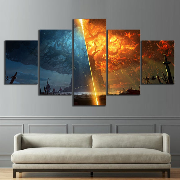 5 Piece Teldrassil Burning World of Warcraft Battle for Azeroth Game Canvas Painting Wall Art for Home Decor