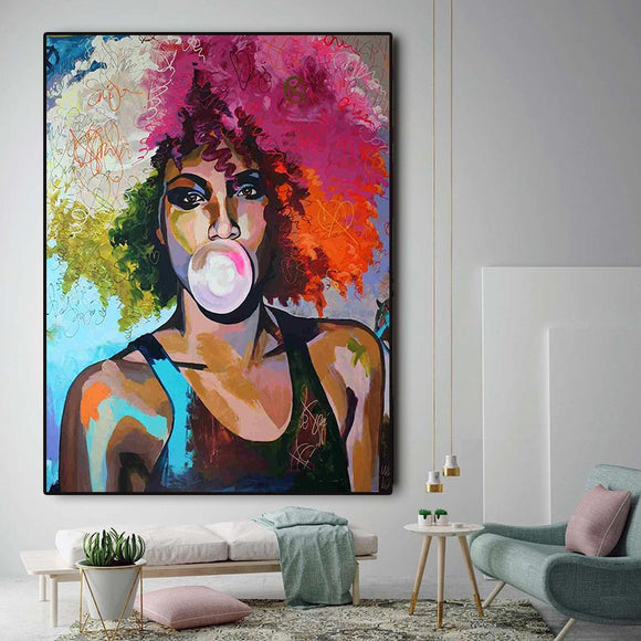 Abstract Bubble Gum Girl, African Woman Oil Painting on Canvas Prints