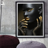 Canvas print showing girl with gold fingers and makeup