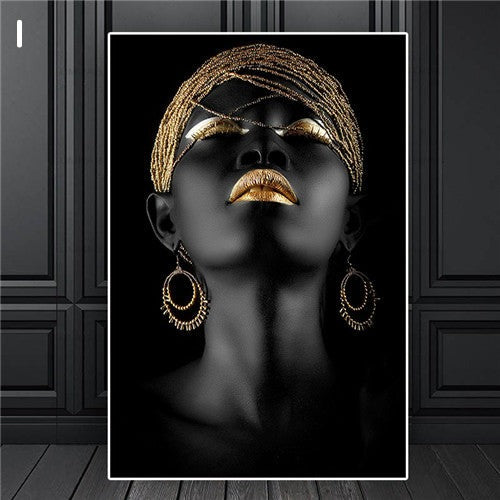 Abstract Gold Crown Black African Woman Oil Painting on Canvas Prints Decoration for Living Room Wall