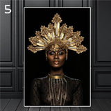 canvas art showing African woman with an elaborate gold crown