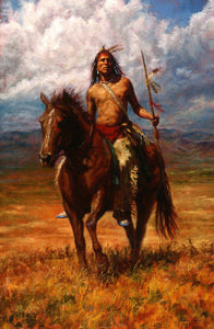 Native Indian man on a horse Landscape Oil Painting on Canvas Prints