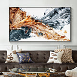 Abstract canvas art print with gold and black colors converging