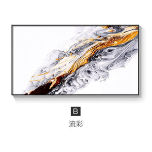 Abstract canvas art print with gold and black colors