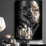 African Art Black and Gold Woman Oil Painting on Canvas Cuadros Posters and Prints