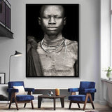 African Man Wall Art Portrait Home Decoration Black And White Posters And Prints Living Room