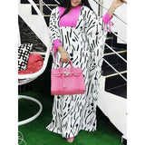 African Stripe Print White Long Dress Batwing Sleeve Color Block Casual Maxi Dress Summer